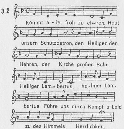 """Noten und die erste Strophe """"Kommt alle froh zu Ehren"""""""