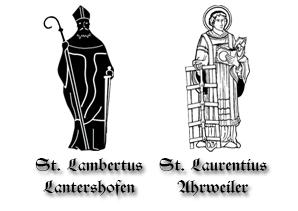 Die Schutzpatrone der beiden Gesellschaften. Links der Heilige Lambertus und recht der Heilige Laurentius.