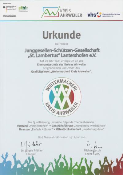 Urkunde des Kreises an die Gesellschaft für die erfolgreiche Teilnahme. Foto: Marco Böhm
